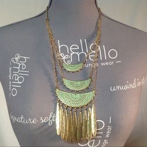 Lucky Brand Brass Tone Tiered Necklace